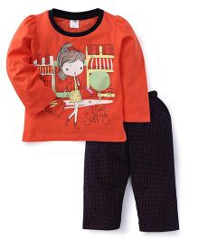 Paaple Full Sleeves Top And Dotted Pajama - Orange Navy
