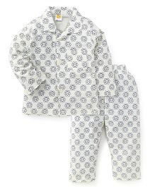 Little Full Sleeves Printed Night Suit - Cream