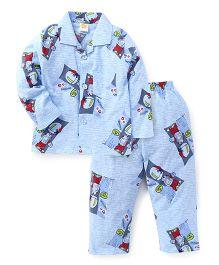 Little Full Sleeves Night Suit Dancing Print - Blue
