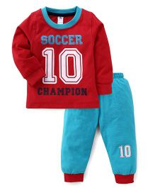 Paaple Full Sleeves Soccer Print T-Shirt And Track Pants - Red Blue