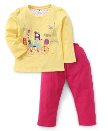 Paaple Full Sleeves Night Suit Cycle Print - Yellow Pink