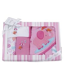 Owen Clothing Gift Set Elephant Embroidery Pack of 7 - Pink