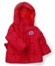 M&M Full Sleeves Dotted Hooded Jacket - Red