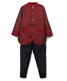 Kriti Full Sleeves Designer Kurta And Pajama Set - Red Black