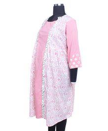 Kriti Ethnic Maternity Three Fourth Sleeves Kurti - Pink White