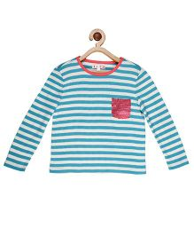 My Lil'Berry Stripe Sequin Pocket Top - White & Blue