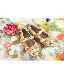 LCL Flower Print Tie Bow Ballerina Shoes yellow 29 5YR flower print upper