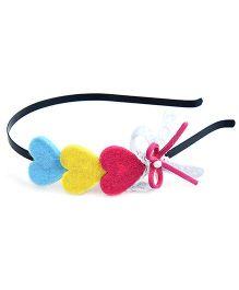 Knotty Ribbons Three Hearts Hairband - Multicolor