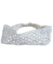 Knotty Ribbons Handmade Crochet Broad Headband - Off White