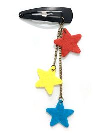 Knotty Ribbons Dangling Stars Snap Clip - Blue Yellow & Orange
