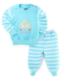 Little Darling Full Sleeves Car Design T-Shirt And Leggings - Turquoise