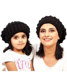Magic Needles Girls Netted Beanie Mother & Daughter Cap Set - Black