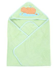 Babyoye Hooded Towel Hippo Embroidery - Green Blue