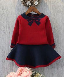 Petite Kids Full Sleeves Top & A-Line Skirt Set - Maroon
