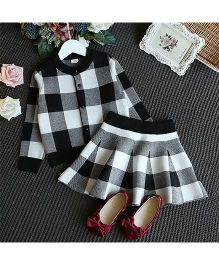 Petite Kids Checkered Top & Skirt Set - Black & White