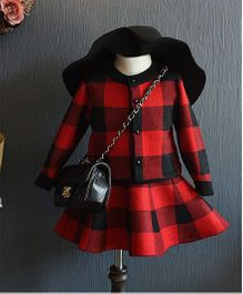 Petite Kids Checkered Top & Skirt Set - Black & Red