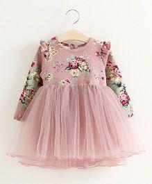 Petite Kids Autumn Full Sleeves Vintage Rose Dress - Pink