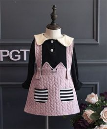 Pre Order - Petite Kids Autumn & Winter Wear Girls Dress Set - Pink