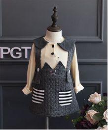 Petite Kids Autumn & Winter Wear Girls Dress Set - Grey