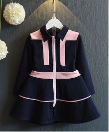 Petite Kids Girls Fashion Zipper Dress - Navy