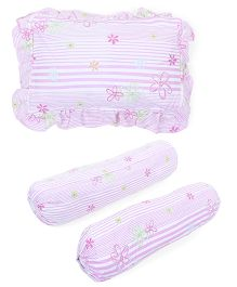 Owen 2 Bolsters And 1 Pillow Set Floral Print - Light Pink