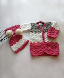 The Original Knit Three Shades Sweater Set - Pink, Grey & White