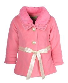 Cutecumber Full Sleeves Winter Jacket With Waist Belt - Pink