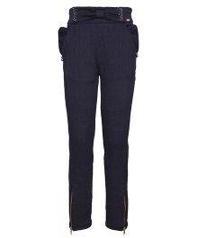 Cutecumber Jacquard Trouser With Bow - Navy