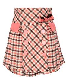 Cutecumber Pleated Check Woollen Skirt - Orange