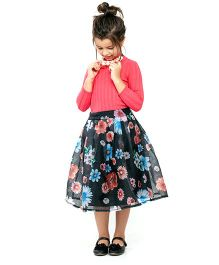 One Friday Girls Long Floral Print Skirt - Black