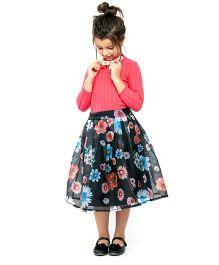 One Friday Girls Long Floral Print Skirt - Black