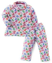 Fido Full Sleeves Elephant Print Night Suit - White Multicolor
