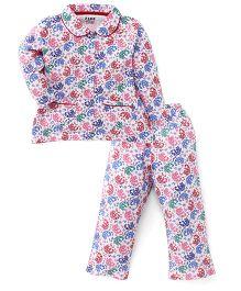 Fido Full Sleeves Elephant Print Night Suit - Blush Multicolor