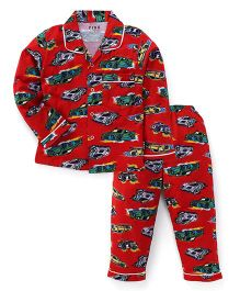 Fido Full Sleeves Printed Night Suit - Red