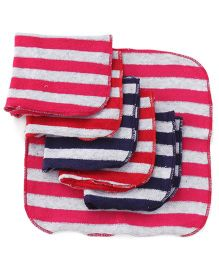 Pink Rabbit Stripes Hand & Face Towels - White Red Fuchsia Navy