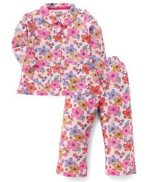 Fido Full Sleeves Floral Print Night Suit - Peach