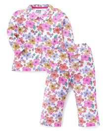 Fido Full Sleeves Floral Print Night Suit - White