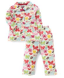 Fido Full Sleeves Butterflies Print Night Suit - Cream