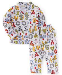 Fido Full Sleeves Night Suit Alphabet Print - White