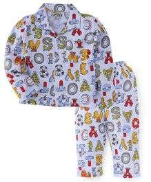 Fido Full Sleeves Night Suit Alphabet Print - Blue