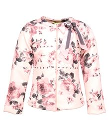 Cutecumber Full Sleeves Front Zipper Floral Printed Jacket - Light Pink