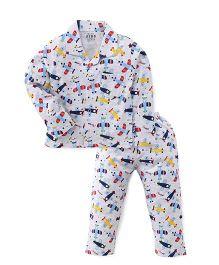 Fido Full Sleeves Printed Night Suit - Grey