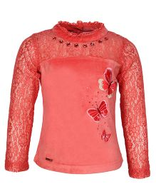 Cutecumber Full Sleeves Lace Top Butterfly Embroidery - Peach