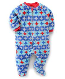 Pinehill Full Sleeves Winter Wear Sleep Suit - Blue Red