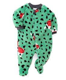 Pinehill Full Sleeves Winter Wear Sleep Suit Cow Print - Green