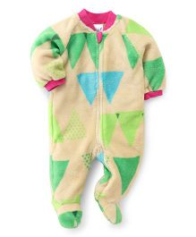 Pinehill Full Sleeves Winter Wear Sleep Suit Triangles Print - Multi Color