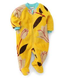 Pinehill Full Sleeves Winter Wear Sleep Suit Floral Print - Yellow