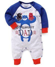 Pinehill Raglan Full Sleeves Strongest Dad Printed Romper - Blue & Grey