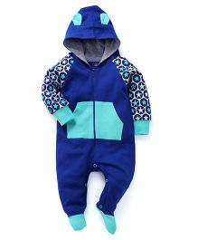 Pinehill Full Sleeves Hooded And Footed Romper - Blue