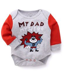Pinehill Full Contrast Color Sleeves With My Dad Printed Onesie - Red & Grey